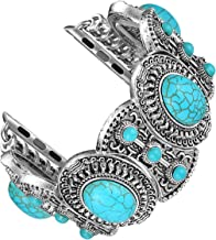 Fastgo Compatible with Apple Watch Band 38mm 40mm 42mm 44mm Women, Bohemian Ethnic Antique Style with Turquoise Fashion Compatible with Iwatch Strap for Series 5 4 3 2 1 Cuff
