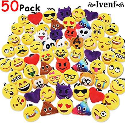 """Ivenf Pack of 50 5cm/2"""" Emoji Poop Plush Keychain Birthday Party Favors Supplies Mini Pillows Set, Emoticon Backpack Clips, Goodie Bag Stuffers Pinata Fillers Novelty Gifts Toys Prizes for Kids"""