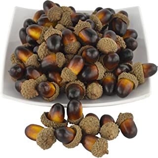 JEDFORE 50 PCS Simulation Artificial Lifelike Fruit Nutty-Brown Acorns for Fall Table Scatter Crafting, Drawing,Home House Kitchen and Autumn Decoration