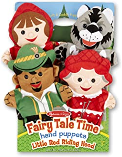 """Melissa & Doug Fairy Tale Friends Hand Puppets, Puppet Sets, Little Red Riding Hood, Wolf, Grandmother, and Woodsman, Soft Plush Material, Set of 4, 14"""" H x 8.5"""" W x 2"""" L"""
