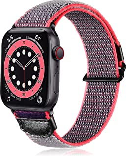 Ouwegaga Compatible with Apple Watch Band 40mm 38mm, Breathable Soft Sport Adjustable Weave Loop Nylon Wristbands Strap fo...