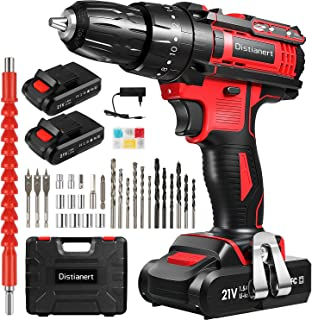 """Cordless Drill Driver, 21V Combi Drill with 2 Batteries 1500mAh, 80Pcs, Electric Drill with 18+3 Torque Setting, 3/8"""" Chuc..."""