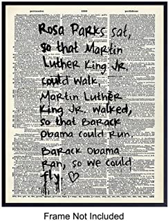 Martin Luther King, Rosa Parks, Barak Obama Quote Mural Wall Art, Home Decor - Black, African American Heroes Graffiti Street Art Poster- Unique Room Decorations - Gift for MLK, Civil Rights Fans