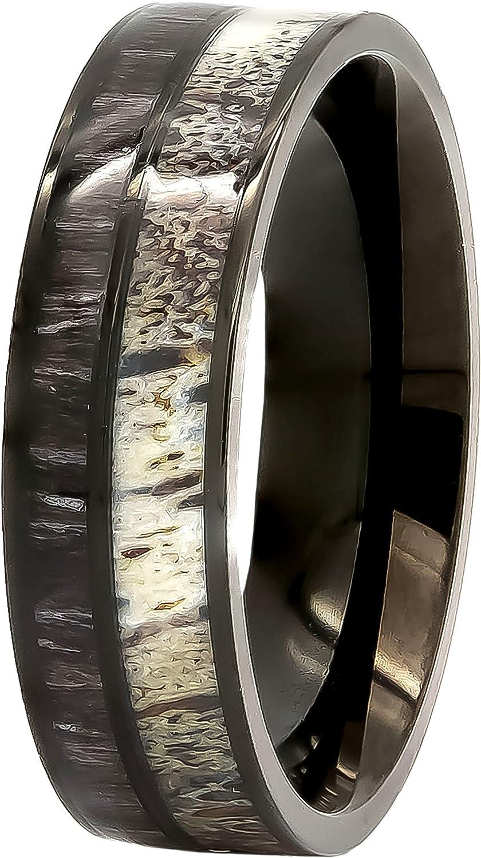 Kingsway Jewelry Natural Deer Antler Ring with Black Koa Wood Inlay - Mens Band, Womens Wedding Ring Black Stainless Steel Hunter Ring Band