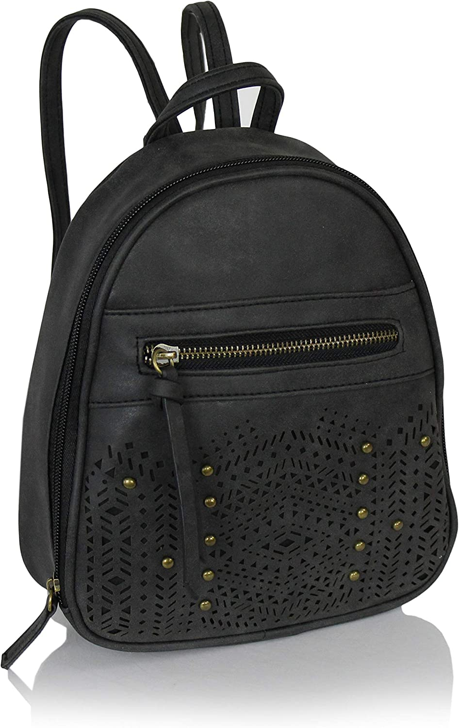 Elliott and Oliver Co. Bohemian Laser Cut Out Vegan Suede Daypack Bag Mini Cute Hipster Perforated Design Women's Travel Backpack or School Bag (Matte Black)