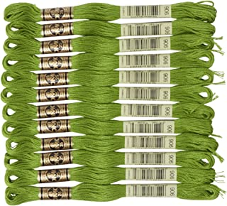 DMC 6-Strand Embroidery Cotton Floss, Medium Parrot Green ,Pack of 12
