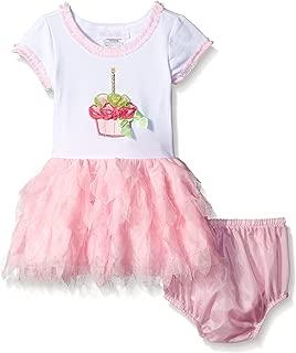 Baby-Girls Birthday Cupcake Appliqued Dress