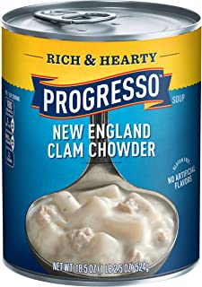 Progresso Rich & Hearty, New England Clam Chowder Soup, Gluten Free, 18.5 oz Cans, Pack of 12