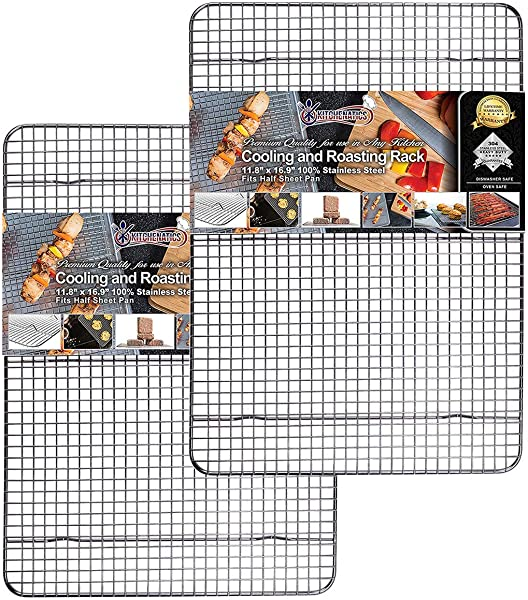Cooling Roasting Baking Racks Fit Standard Half Sheet Pans Heavy Duty 304 Stainless Steel Wire Racks Dishwasher Oven Safe For Cooking Smoking Grilling Rust Proof 11 8 X 16 9 SET OF 2