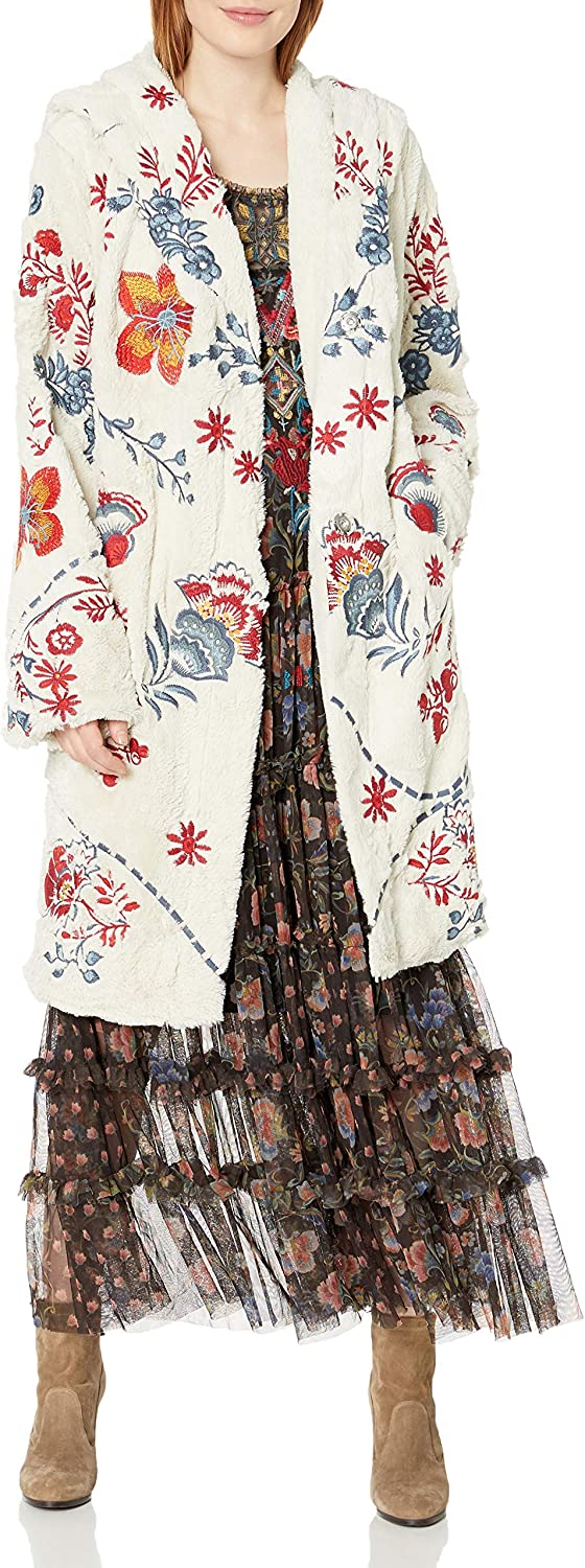 Biya Johnny Was Women's Cream Faux Fur Coat with Multicolored Embroidery