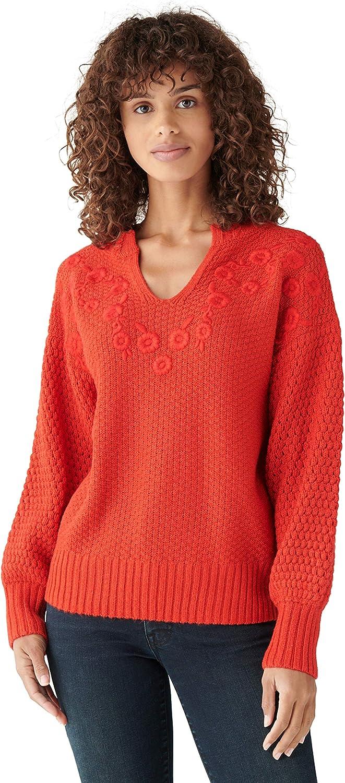 Lucky Brand Women's Long 激安 お金を節約 激安特価 送料無料 Sleeve Embroidered Notch Sweater Neck
