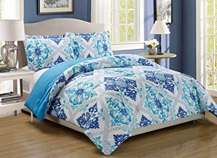 3-Piece Fine printed Abstract Duvet Cover Set QUEEN SIZE - 1500 series high thread count Brushed Microfiber - Luxury Soft,  Durable (Turquoise,  Blue,  White,  Grey,  Navy)