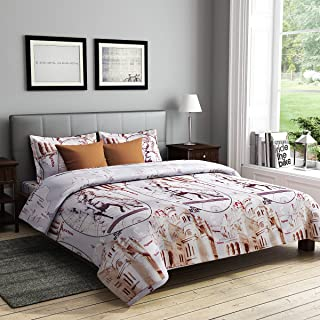 RAGO RELISH ABSTRACT ROMAN PRINT BROWN AND BEIGE Double Bedsheet Set