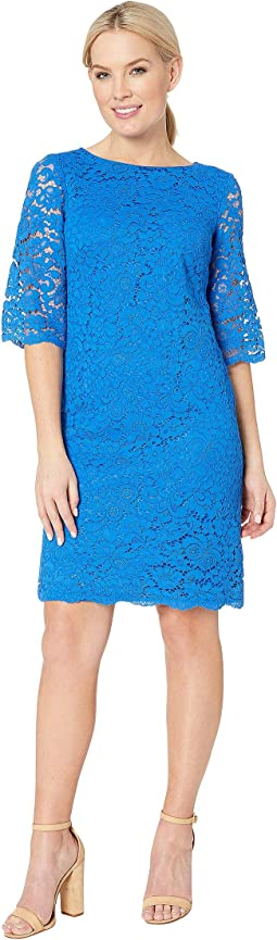 150E Piazza Floral Jillias Elbow Sleeve Day Dress