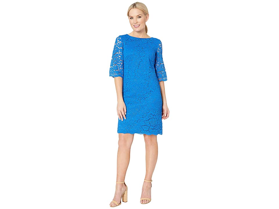 LAUREN Ralph Lauren 150E Piazza Floral Jillias Elbow Sleeve Day Dress (Portuguese Blue) Women