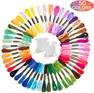 Embroidery Floss Rainbow Color 50 Skeins Per Pack for Friendship Bracelet String, Embroidery Thread, Cross Stitch Threads with 10 Pieces Floss Bobbins