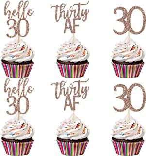 24Pcs Rose Gold Glittery Thirty Af Hello 30 30 Cupcake Toppers- 30th Birthday Cupcake Toppers,Hello 30 Cupcake Toppers,30t...