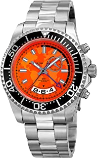 Great for Father's Day - Akribos Men's Diver Watch – Pro Sport Diver with Screw Down Crown and Water Resistant to 165 Ft - GMT and Printed World Map on Dial Quartz Movement - AK955