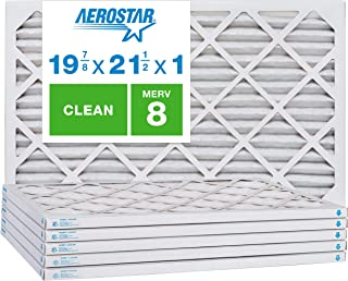 """Aerostar Clean House 19 7/8 x 21 1/2x1 MERV 8 Pleated Air Filter, Made in the USA, (Actual Size: 19 7/8""""x21 1/2""""x3/4""""), 6-Pack, White"""