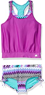 ZeroXposur Girls' Big Good Vibrations 2for Blouson Tankini 2-Piece Swimsuit