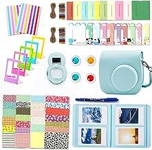 Leebotree Paquete de Accesorios Compatible con cámara Instax Mini 9 Incluye: Caso/Album/Lente para Autoretrato/Filtros/Marcos para fotos/Marcos de Películas/Bordes/Pegatinas (Azul Hielo)