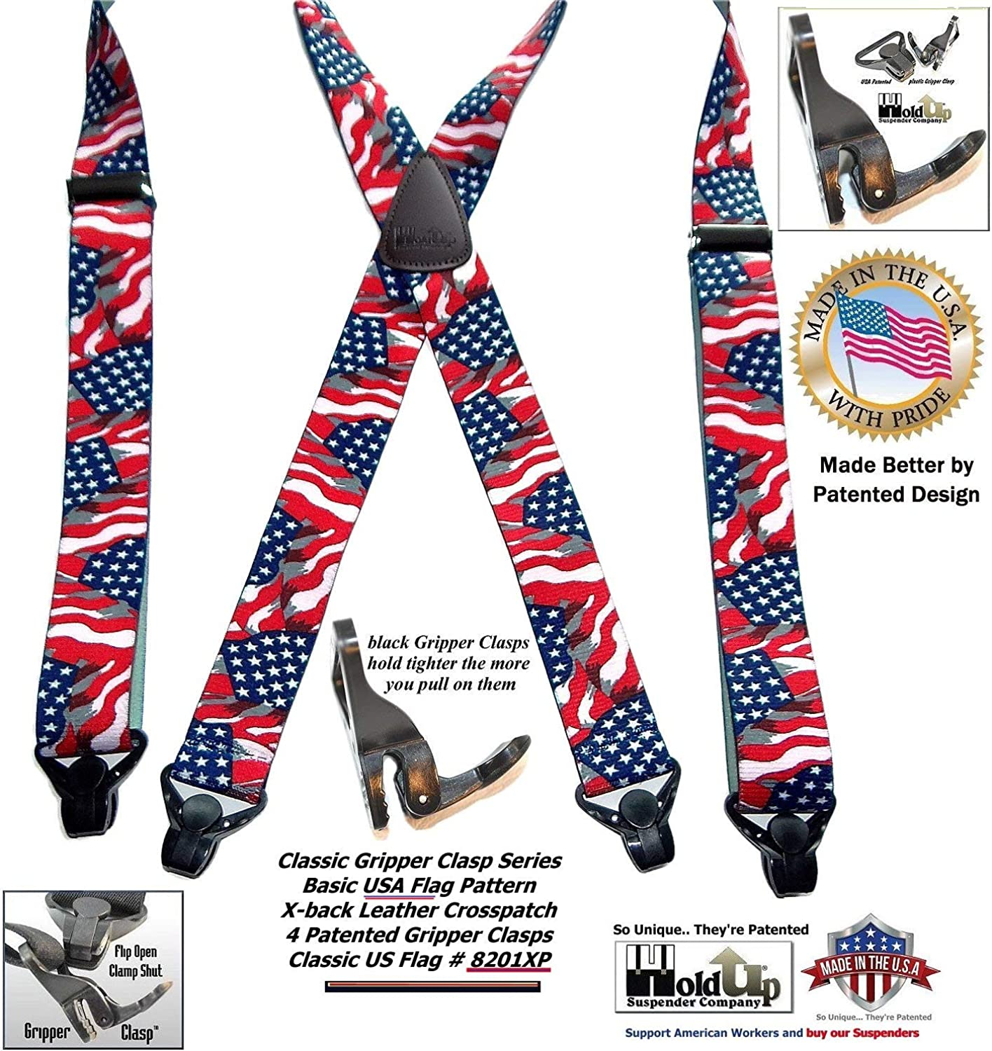Classic Series American Flag Pattern X-back Suspenders with Black Gripper Clasps