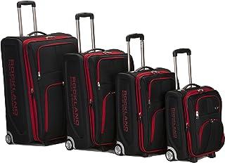 Rockland Polo Equipment Varsity Softside Upright Luggage Set, Black, 4-Piece (18/22/26/30)
