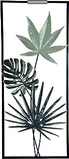 Tableau en métal avec feuilles de monstre - Feuille de palmier - Décoration murale - Fleurs - 3D - Sculpture murale unique...