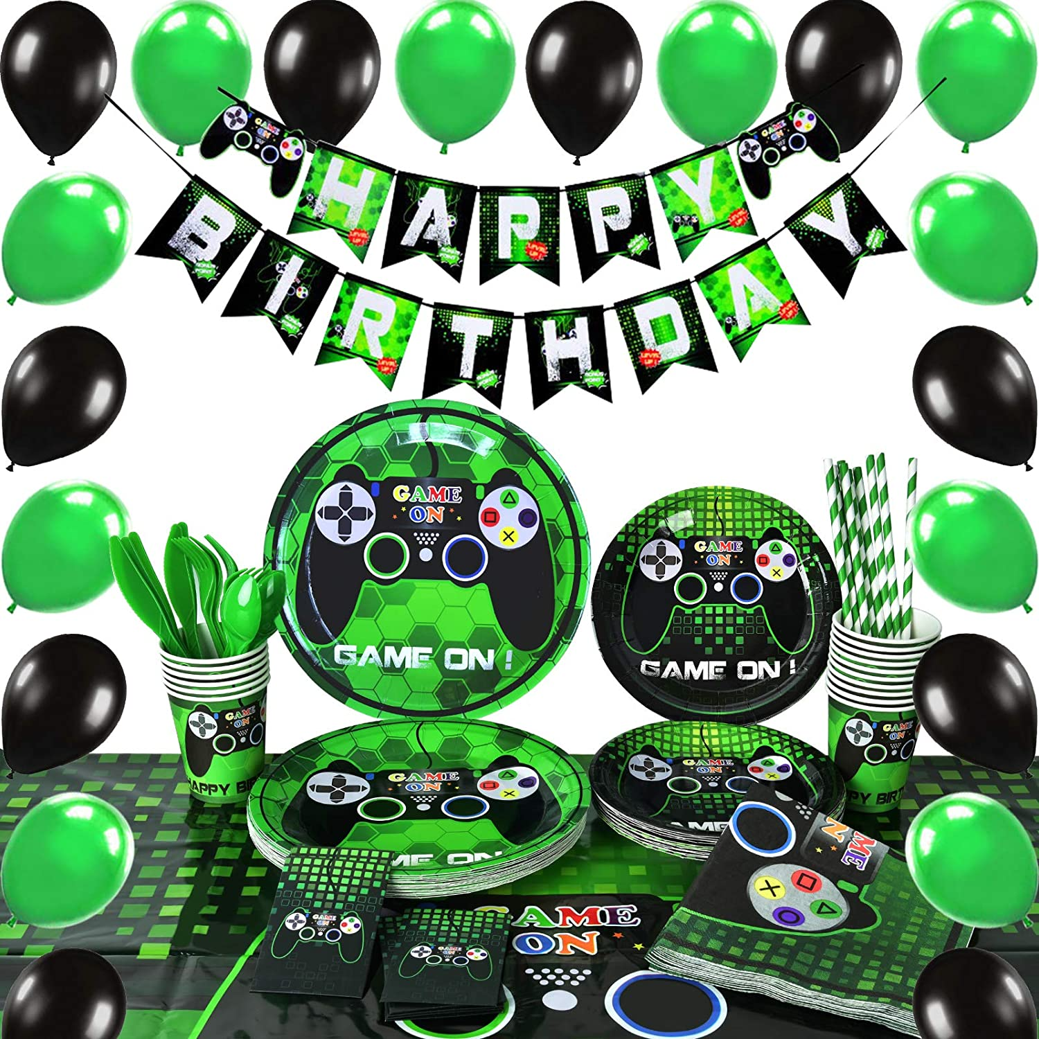 WERNNSAI Video Game Party Supplies   Gaming Party Decoration Boys Birthday  Party Cutlery Bag Table Cover Plates Cups Napkins Straws Utensils Birthday  ...