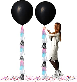 Gender Reveal Party Supplies 36 Inch Jumbo Black Balloons with Confetti and White Pink Silver Blue Tassels for Boy or Girl Neutral Decorations