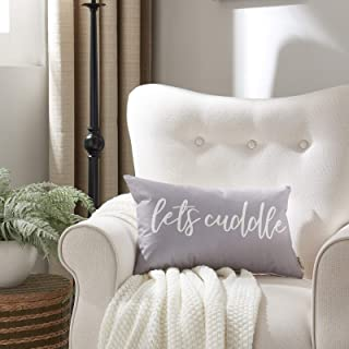 """Meekio Farmhouse Gray Pillow Covers with Let's Cuddle Quote 12"""" x 20"""" Farmhouse Rustic Décor Lumbar Pillow Covers with Say..."""