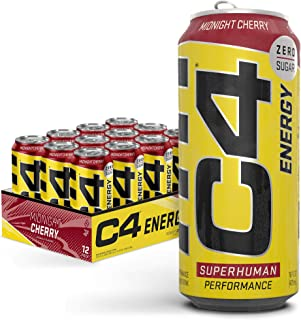 C4 Energy Carbonated Zero Sugar Energy Drink, Pre Workout Drink + Beta Alanine, Midnight Cherry, 16 Fl Oz (Pack of 12)