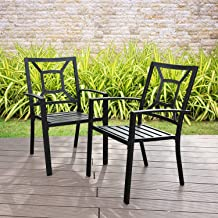 PHI VILLA Metal Patio Outdoor Dining Chairs Set of 2 Stackable Bistro Deck Chairs for Garden Backyard Lawn Support 300LB, ...