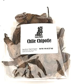 Chile Chipotle Meco Mexican Chili Peppers - Casa Ruiz Brand - 8 Oz Resealable Bag - Fresh Pliable Smoked Intense Deep Flavor