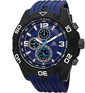 Joshua & Sons Men's Chronograph Watch - 3 Multifunction Subdials, Minute, Second, 1/10-second on Ribbed Silicone Band - JS92