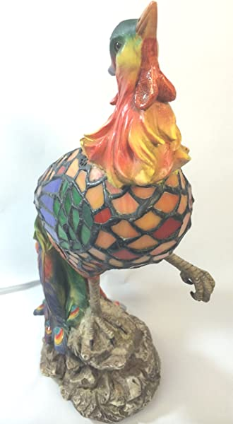 蒂芙尼风格公鸡公鸡红色橙色多色彩色玻璃灯 TL4321A