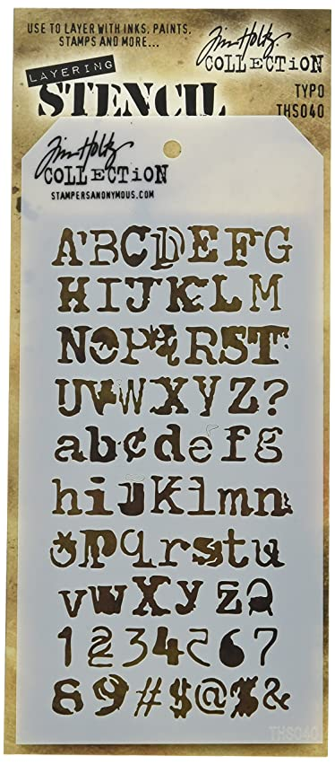 Stampers Anonymous Tim Holtz Layered Typo Stencil, 4.125
