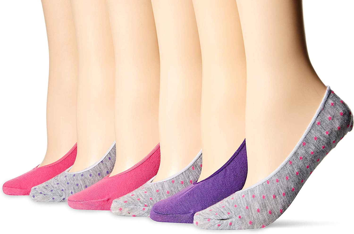 Hanes womens X-temp Lightweight Invisible Liner Socks 6-pack