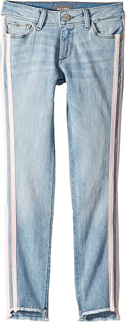 Chloe Mid Wash Skinny with Pink Side Stripes in Collins (Big Kids)