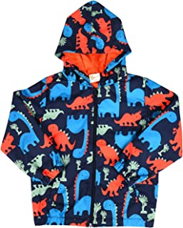 Boys Cartoon Dinosaur Jackets Zip Kids Mesh Lined Hooded Windproof Jacket Raincoat for Toddler Light Outwear