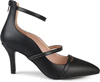 Brinley Co. Womens Faux Leather Pointed Toe Ankle Strap Heels