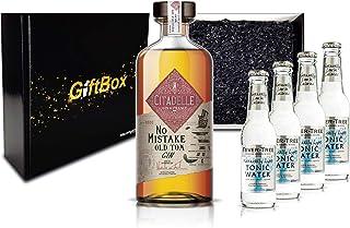 Gin Tonic Giftbox Geschenkset - Citadelle No Mistake Old Tom Gin 50cl 40% Vol  4x Fever Tree Naturally Light Tonic Water 200ml inkl. Pfand MEHRWEG - Enthält Sulfite