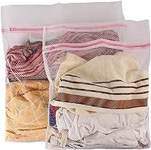 Okayji Fenfang Protective Mesh Net Zippered Washing Machine Wash Laundry Bag Pack Of 2 - White