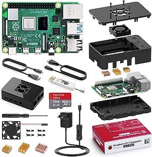 Bqeel Kit Raspberry Pi 4 Model B da 4GB RAM+MicroSD 32GB, RPi Barebone con Accessori 2 Cavi HDMI, Alimentatore 5.1V 3A con Interruttore ECC