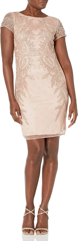 J Kara Women's All Over Embellished Sleeve Short Dress