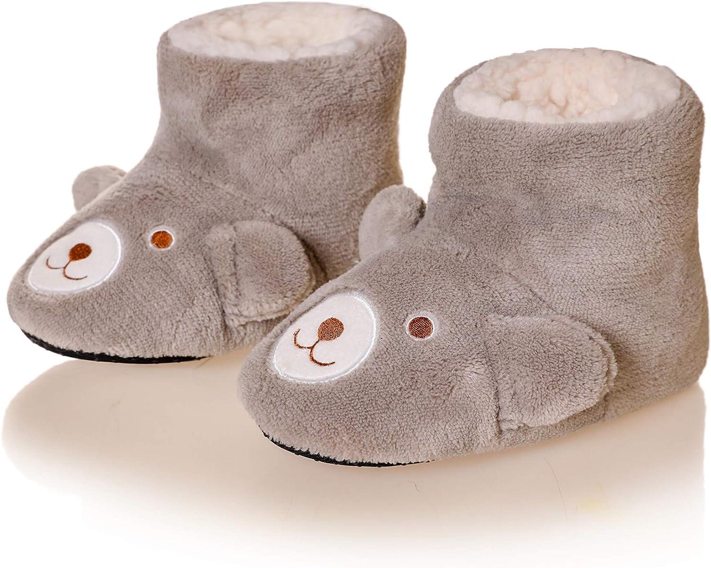 Kids Boy Girl Slipper Socks Soft Warm Cute Cozy Winter Plush Non-Skid Indoor House Shoes Boot Socks