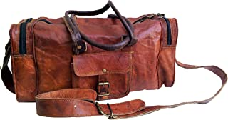 """Jaald 18"""" Leather Duffle Bag Travel Carry-on Luggage Overnight Gym Weekender Bag"""