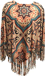 Nickanny's Poncho Pullover Topper Jacket Ruana with Fringe Lightweight