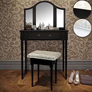 Coiffeuse Table De Maquillage | 80/40/136cm Blanc Ou Noir 3 Miroirs Et