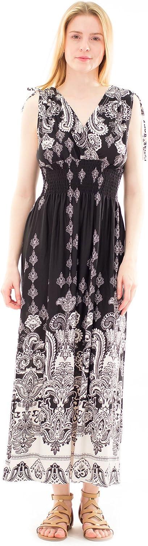 Avanti Bottega Women's Casual Sleeveless Smocked Open Back Long Maxi Dress